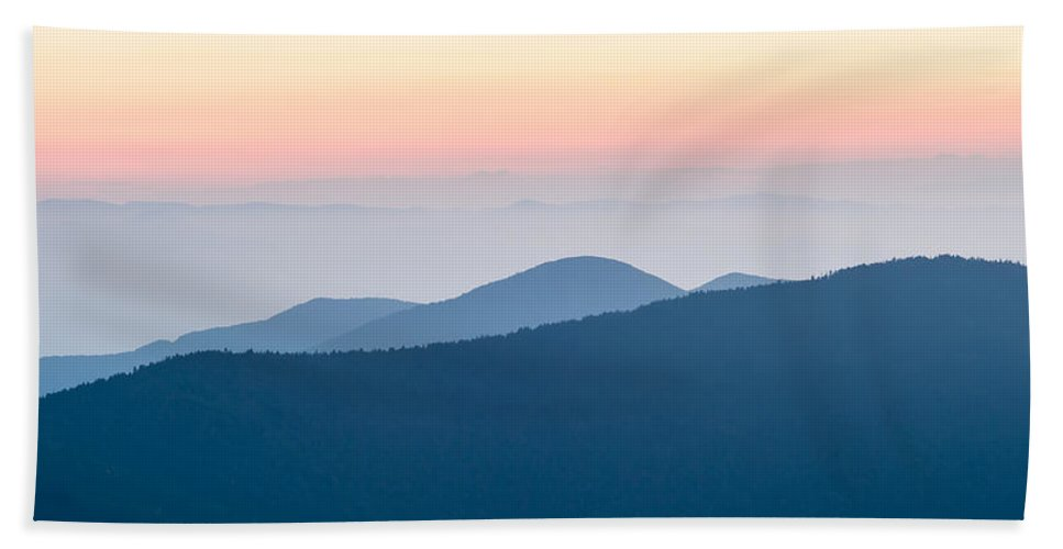 Mountain Bath Sheet featuring the photograph Panorama Of Mountain Ridges Silhouettes by Alex Grichenko
