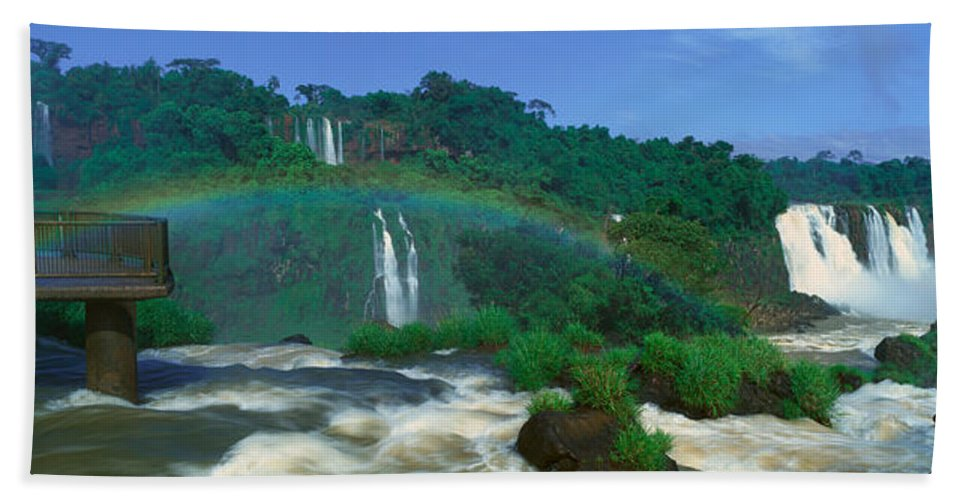 Photography Bath Sheet featuring the photograph Panoramic View Of Iguazu Waterfalls by Panoramic Images