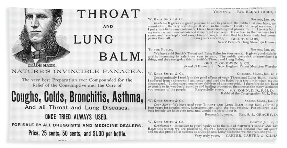 1887 Bath Sheet featuring the photograph Patent Medicine Ad, 1887 by Granger