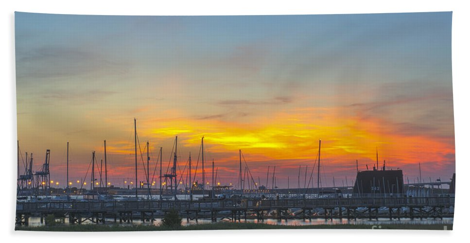 Sunset Bath Sheet featuring the photograph Patriots Point Sunset by Dale Powell