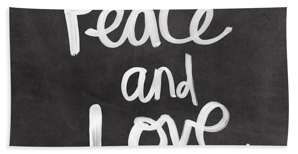Love Bath Towel featuring the mixed media Peace and Love by Linda Woods