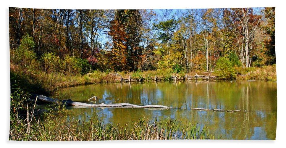 Autumn Bath Sheet featuring the photograph Peaceful Place by Kristin Elmquist
