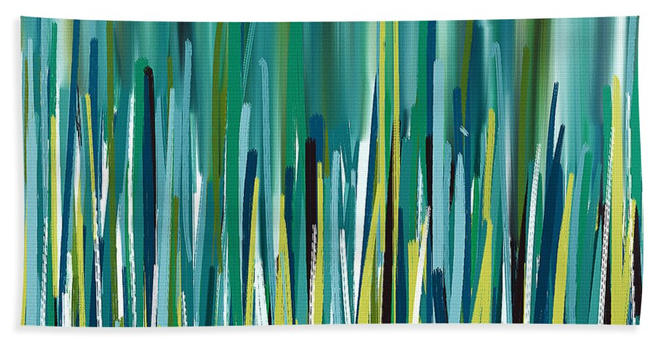 Turquoise Hand Towel featuring the painting Peacock Spikes by Lourry Legarde