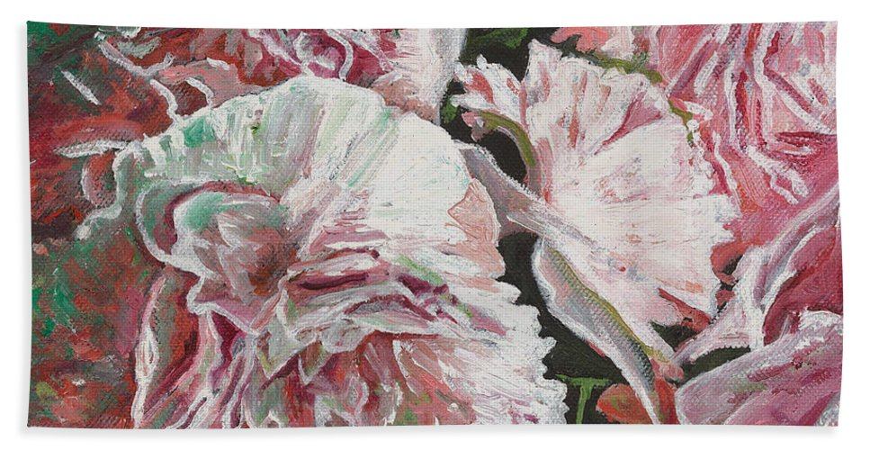 Pink Bath Sheet featuring the painting Peonies by Helen White