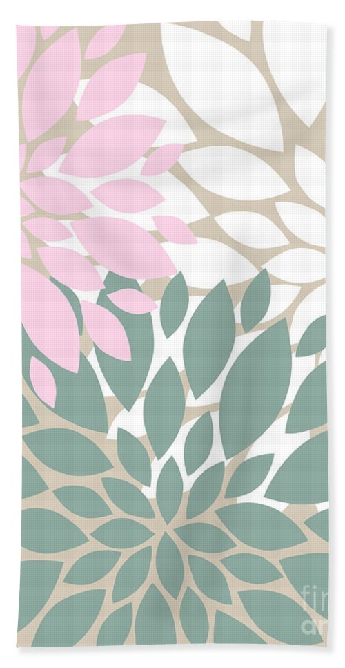Pink Bath Sheet featuring the digital art Peony Flowers by Voros Edit