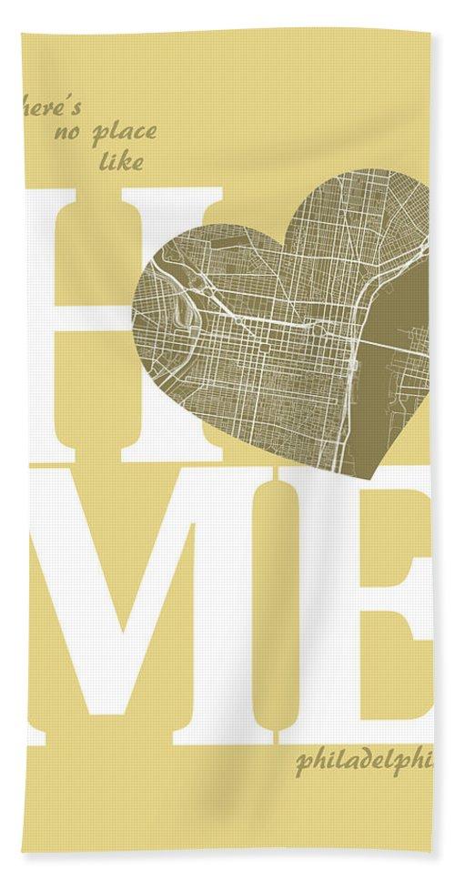 Road Map Bath Sheet featuring the digital art Philadelphia Street Map Home Heart - Philadelphia Pennsylvania R by Jurq Studio