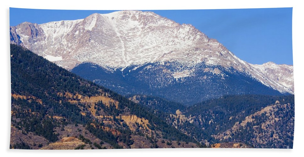 New Hand Towel featuring the photograph Pikes Peak by Steve Krull