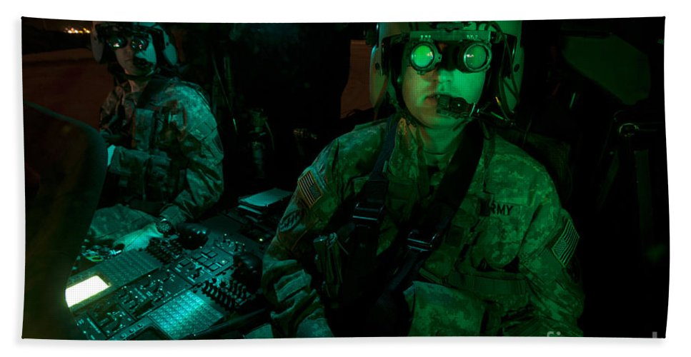Exercise Angel Thunder Bath Sheet featuring the photograph Pilots Equipped With Night Vision by Terry Moore