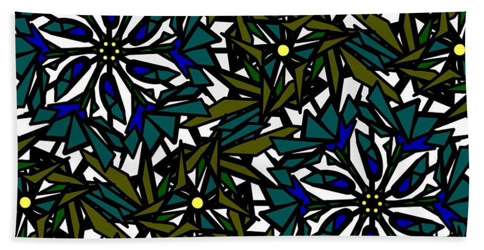 Pin-wheel Flowers Hand Towel featuring the digital art Pin-wheel Flowers by Elizabeth McTaggart