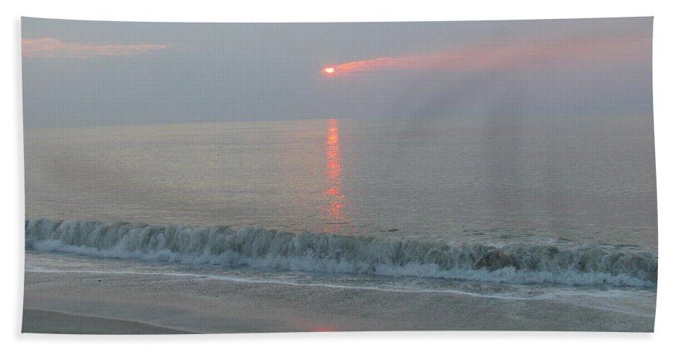 Landscape Hand Towel featuring the photograph Pink Sunrise Glow by Ellen Meakin