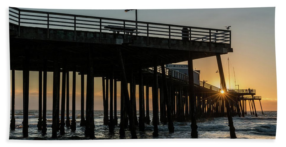 Photography Bath Sheet featuring the photograph Pismo Beach Pier At Sunset, San Luis by Panoramic Images