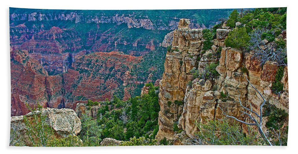 Point Imperial At 8803 Feet On North Rim/grand Canyon National Park Hand Towel featuring the photograph Point Imperial At 8803 Feet On North Rim Of Grand Canyon National Park-arizona  by Ruth Hager