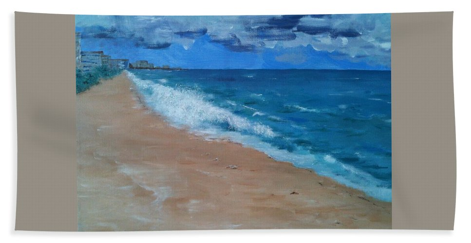 Landscape Hand Towel featuring the painting Pompano Beach by Laura Inniger