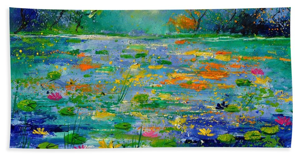 Landscape Hand Towel featuring the painting Pond 454190 by Pol Ledent