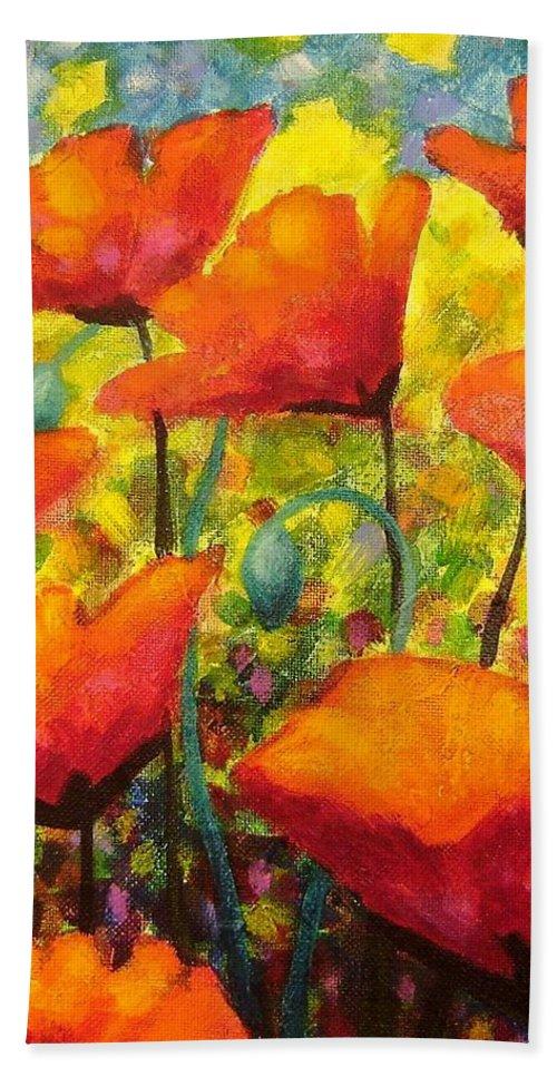 Poppies Bath Sheet featuring the painting Poppy Corner by John Nolan