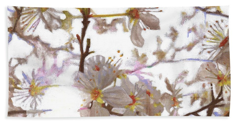 Floral Bath Towel featuring the painting Prelude by Helen White