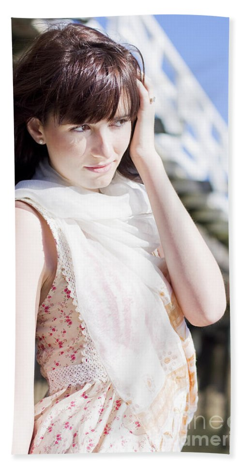 Adult Hand Towel featuring the photograph Pretty Young Fashion Model by Jorgo Photography - Wall Art Gallery