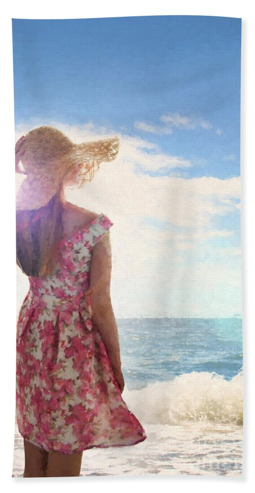Woman Hand Towel featuring the photograph Pretty Young Woman Looking Out To Sea by Lee Avison