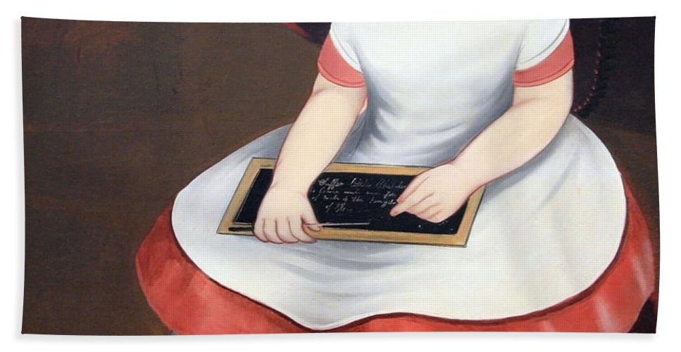 Ittle Girl With Slate Bath Sheet featuring the photograph Prior Hamblin School's Little Girl With Slate by Cora Wandel