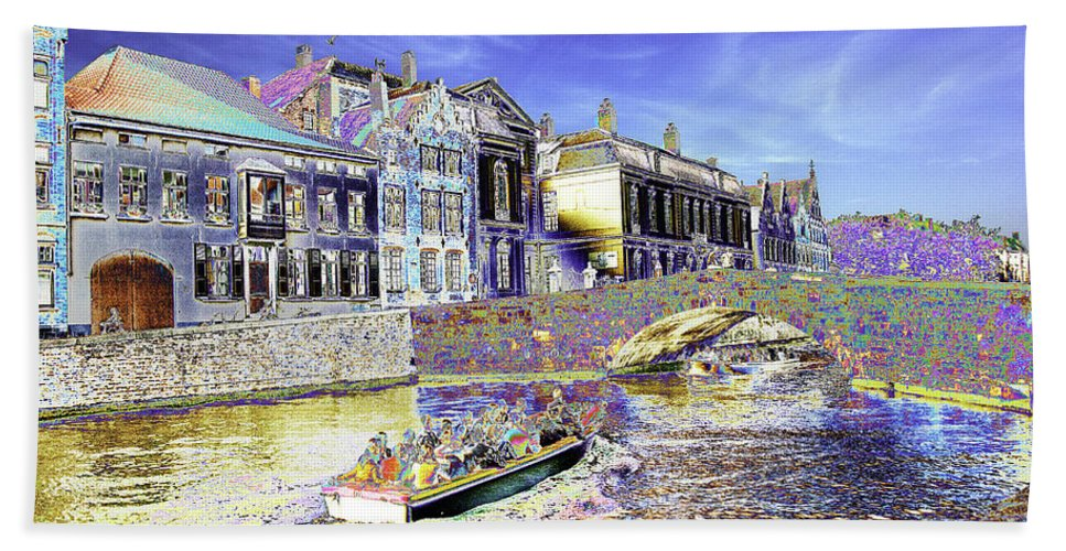 Psychedelic Hand Towel featuring the photograph Psychedelic Bruges Canal Scene by Peter Lloyd