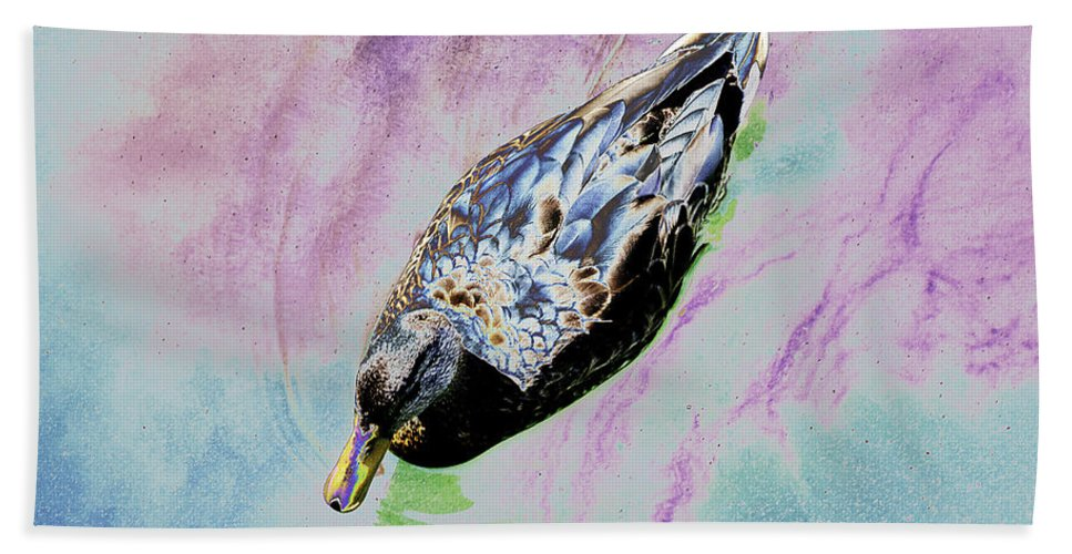 Psychedelic Hand Towel featuring the photograph Psychedelic Mallard Duck 2 by Peter Lloyd