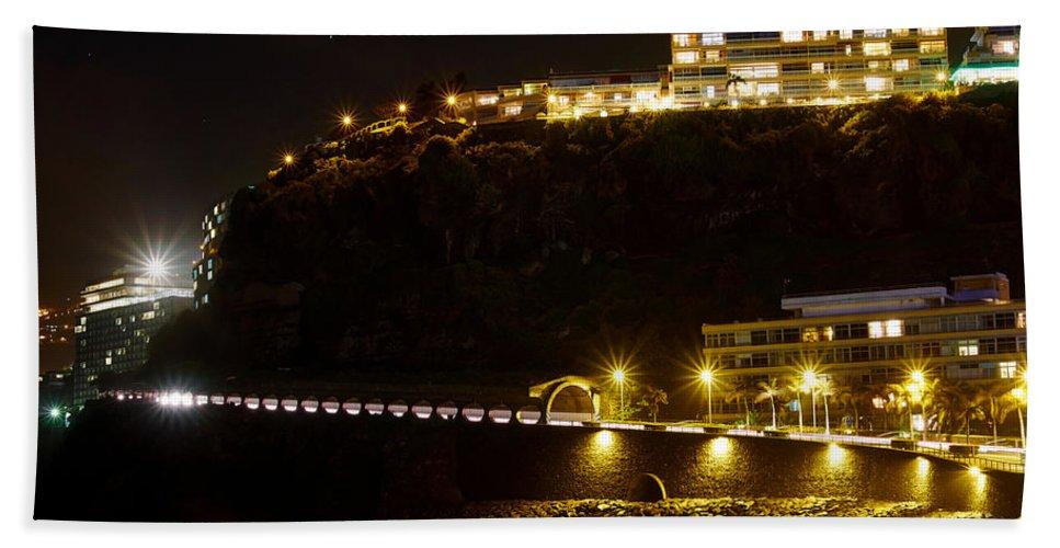 Atlantic Ocean Bath Sheet featuring the photograph Puerto De La Cruz By Night by Jouko Lehto