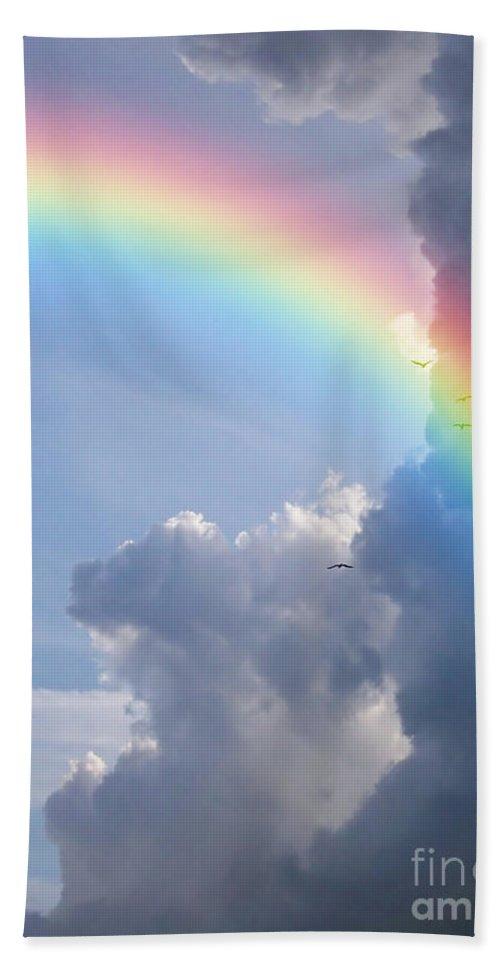 Rainbow Bath Sheet featuring the photograph Rainbow Clouds by Antony McAulay