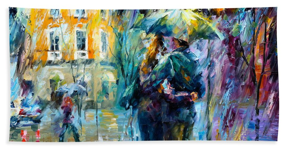 Afremov Hand Towel featuring the painting Rainy Date by Leonid Afremov