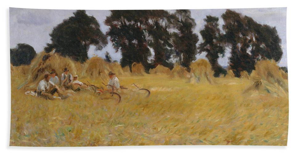 John Singer Sargent Bath Sheet featuring the painting Reapers Resting In A Wheat Field by John Singer Sargent