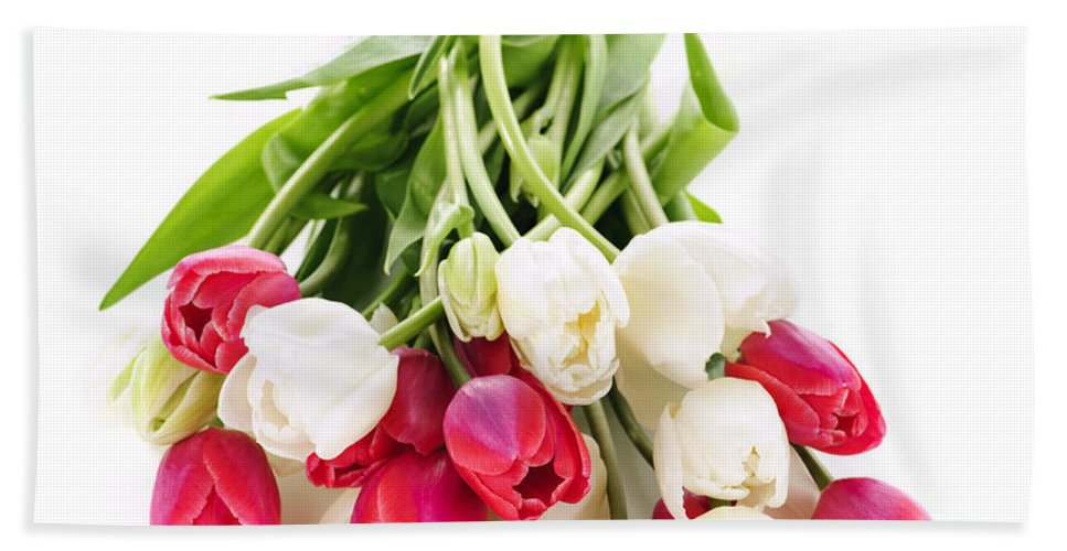 Tulips Hand Towel featuring the photograph Red And White Tulips by Elena Elisseeva