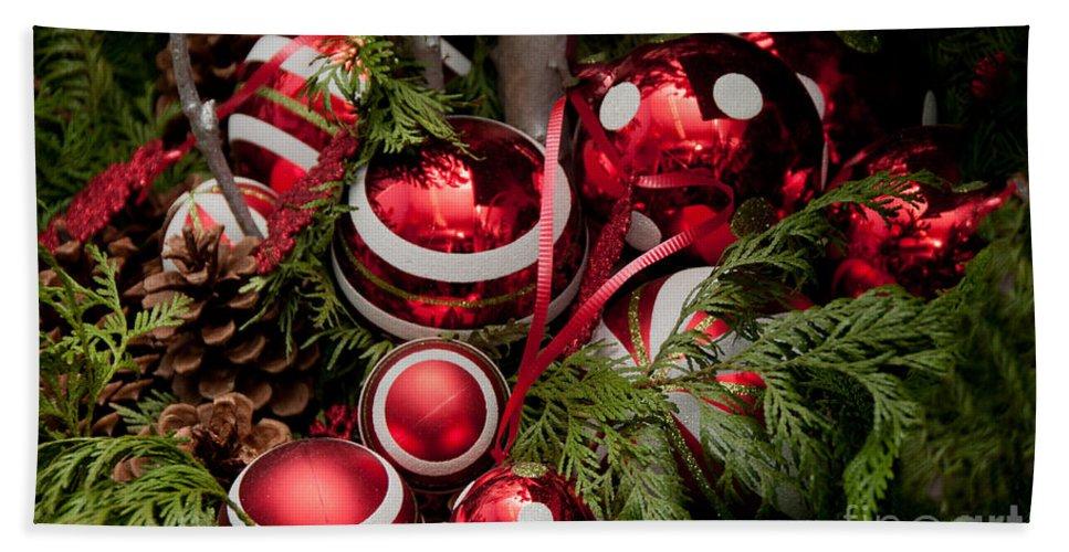 Balls Bath Sheet featuring the digital art Red Christmas Balls by Carol Ailles