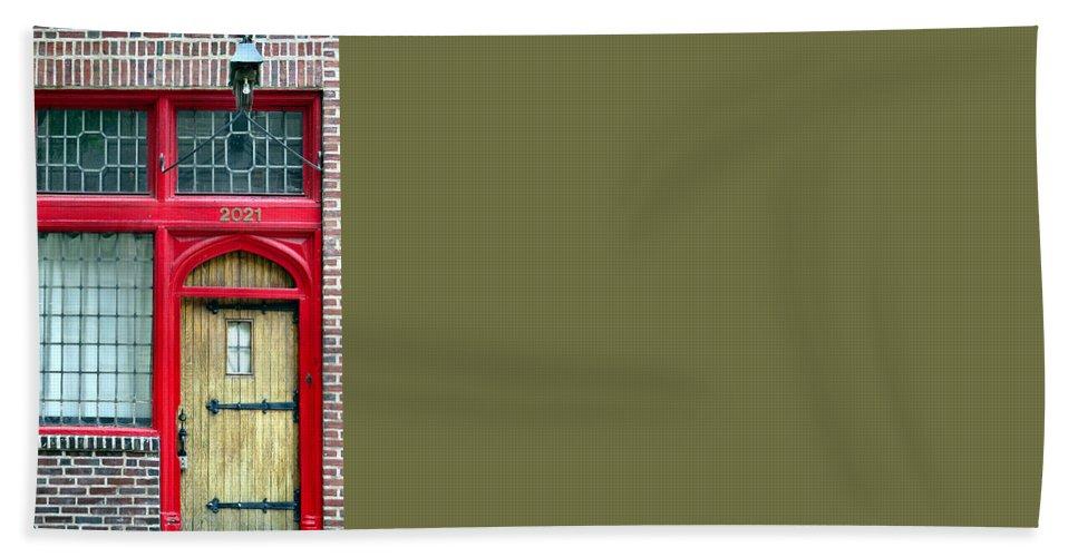 Window Hand Towel featuring the photograph Red Door by Art Dingo