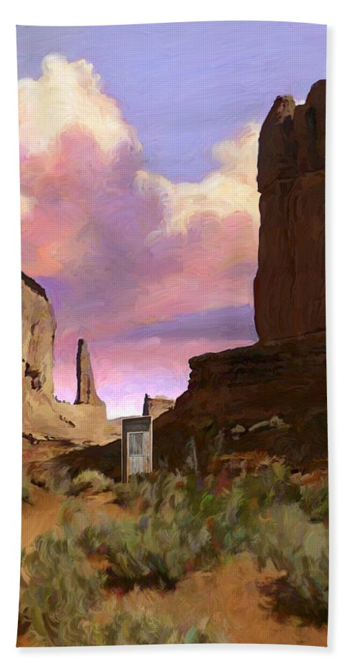 Arizona Bath Sheet featuring the painting Red Rocks by Snake Jagger