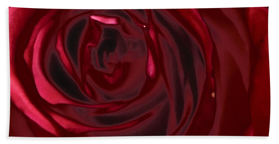 Floral Bath Sheet featuring the photograph Red Rose Abstract 2 by Tara Shalton