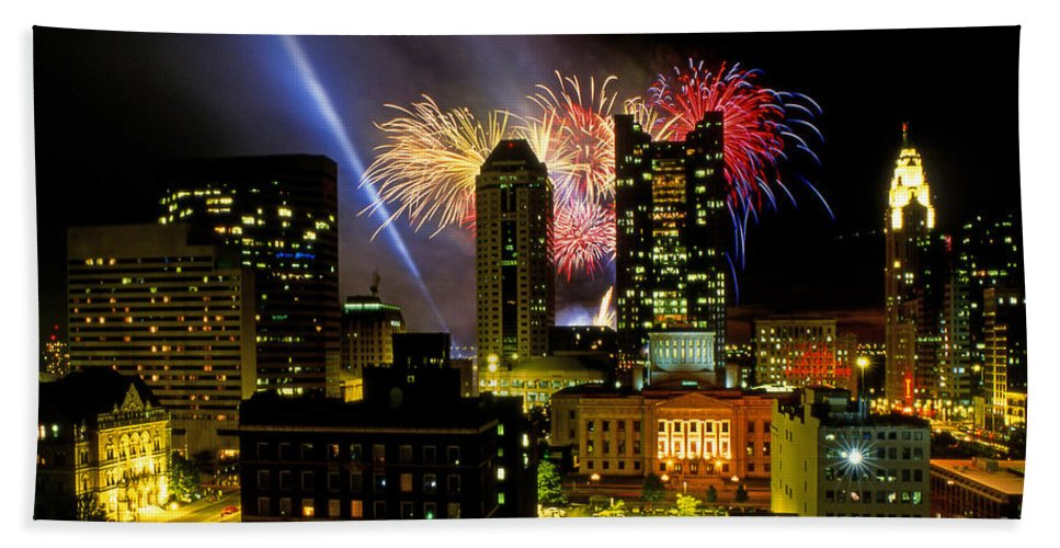 Red White And Boom Hand Towel featuring the photograph 21l334 Red White And Boom Fireworks Display Photo by Ohio Stock Photography