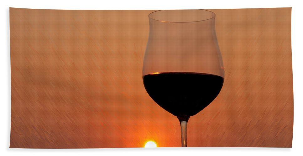 Painting Hand Towel featuring the photograph Red Wine At Sunset by Martin Belan