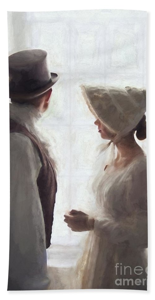 Regency Bath Sheet featuring the photograph Regency Period Couple At The Window by Lee Avison