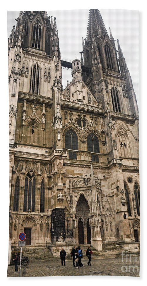 Regensburg Cathedral Hand Towel featuring the photograph Regensburg Cathedral by Howard Stapleton