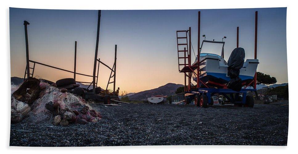 Boat Tractor Bath Sheet featuring the photograph Resting Boats by Alfio Finocchiaro