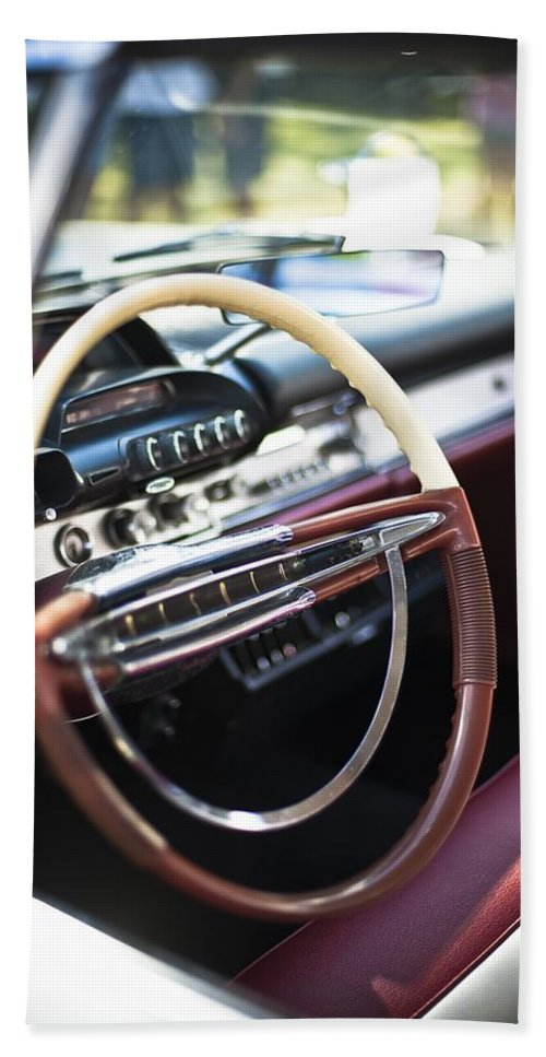 Dashboard Hand Towel featuring the photograph Retro Dashboard by FL collection