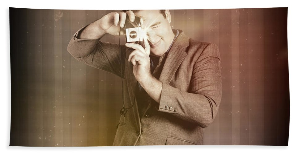 Photographer Hand Towel featuring the photograph Retro Photographer Man Taking Photo With Camera by Jorgo Photography - Wall Art Gallery