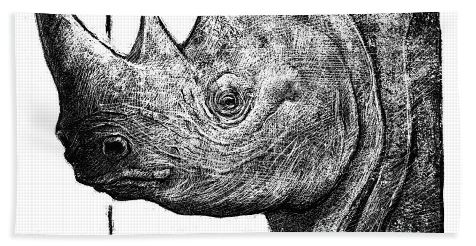 Rhinoceros Hand Towel featuring the drawing Rhino by Chris Van Es