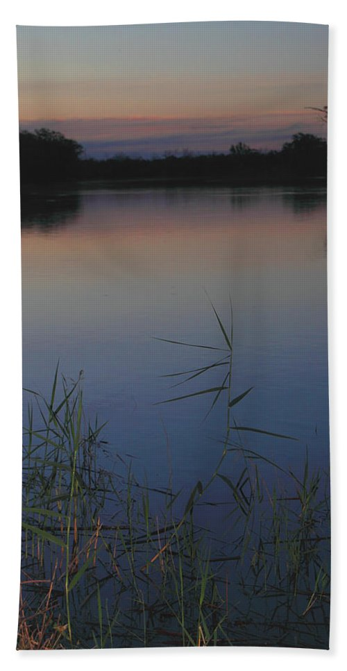 River Murray Sunset Hand Towel featuring the photograph River Murray Sunset Series 2 by Carole-Anne Fooks