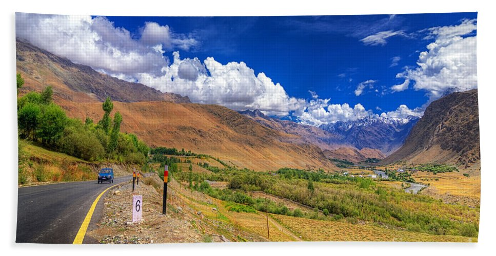 Ladakh Bath Sheet featuring the photograph Road And Mountains Of Leh Ladakh Jammu And Kashmir India by Rudra Narayan Mitra