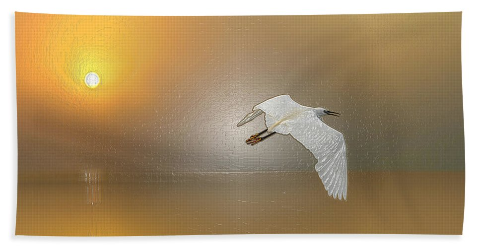 Landscape Hand Towel featuring the digital art Landscape Art For Sale. Early Morning Bird Fly, Original Framed Painting, Sunrise Over The Sea by Morning Breeze