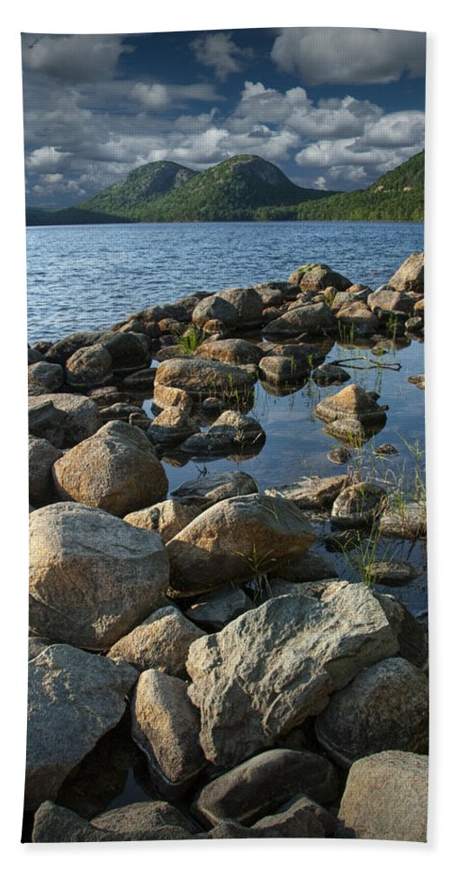 Art Bath Sheet featuring the photograph Rocky Shoreline In Acadia National Park by Randall Nyhof