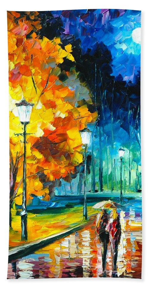 Afremov Painting Palette Knife Art Handmade Surreal Abstract Oil Landscape Original Realism Unique Special Life Color Beauty Admiring Light Reflection Piece Renown Authenticity Smooth Certificate Colorful Beauty Perspective Golden Treasure Romantic Night Hand Towel featuring the painting Romantic Night by Leonid Afremov