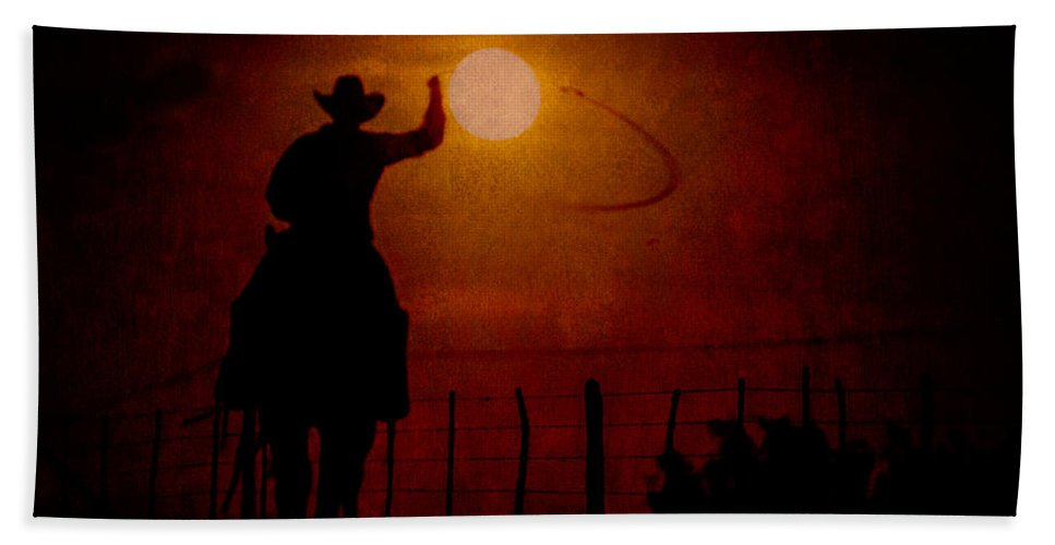Quarter Horse Hand Towel featuring the photograph Ropin' The Moon by Kelli Brown