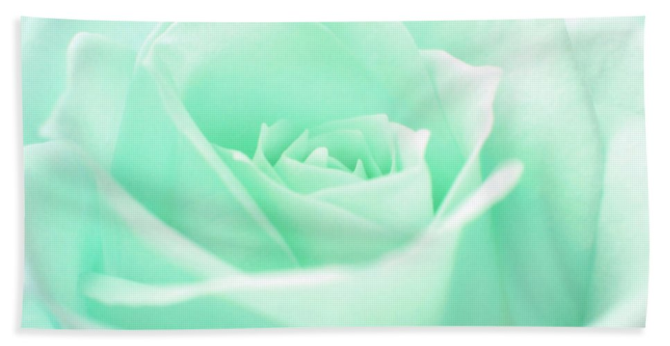 Green Rose Hand Towel featuring the photograph Pale Green Rose by Sergey Lukashin