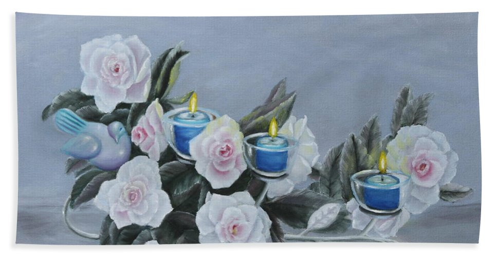 Still Bath Sheet featuring the painting Roses And Candlelight by Lou Magoncia